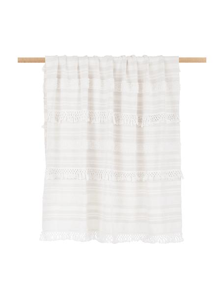Plaid boho in cotone color crema/beige con frange Nara, 100% cotone, Bianco crema, beige, Larg. 130 x Lung. 170 cm
