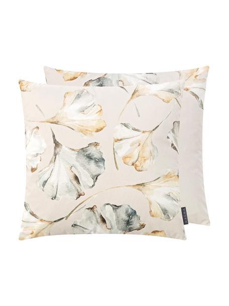 Dubbelzijdige fluwelen kussenhoes Flores met ginkgo-print, 100% polyester fluweel, Beige, multicolour, 50 x 50 cm