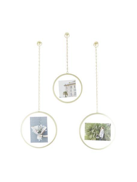 Set de marcos Dima, 3pzas., Metal recubierto, Dorado, Set de diferentes tamaños