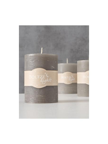 Set 3 candele pilastro Trent, 100% cera paraffinica, Grigio, Ø 7 x Alt. 10 cm