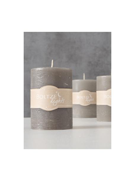 Set de velas pilar Trent, 3pzas., 100%parafina, Tonos grises, Ø 7 x Al 10 cm