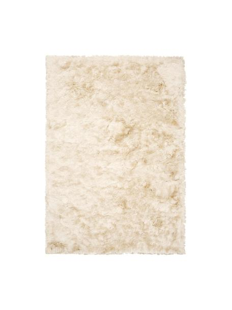 Alfombra de pelo largo brillante Jimmy, Parte superior: 100%poliéster, Reverso: 100%algodón, Marfil, An 80 x L 150 cm (Tamaño XS)