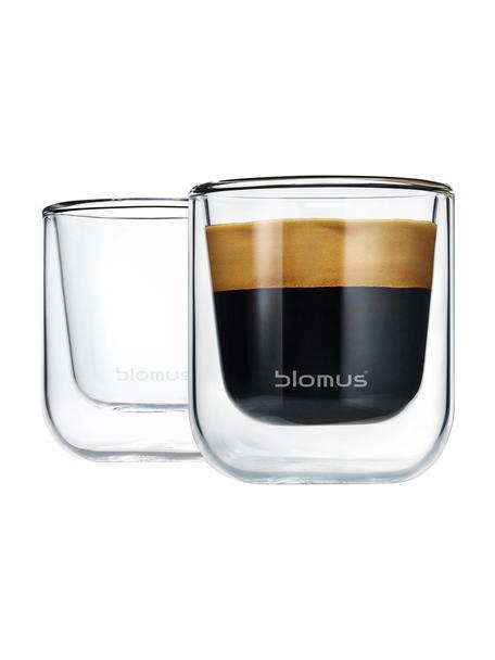 Tazas espresso de doble vidrio Nero, 2uds., Vidrio, Transparente, Ø 6 x Al 7 cm
