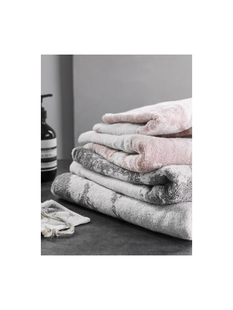 Set de toallas Marmo, 3pzas., Rosa, blanco crema, Set de diferentes tamaños