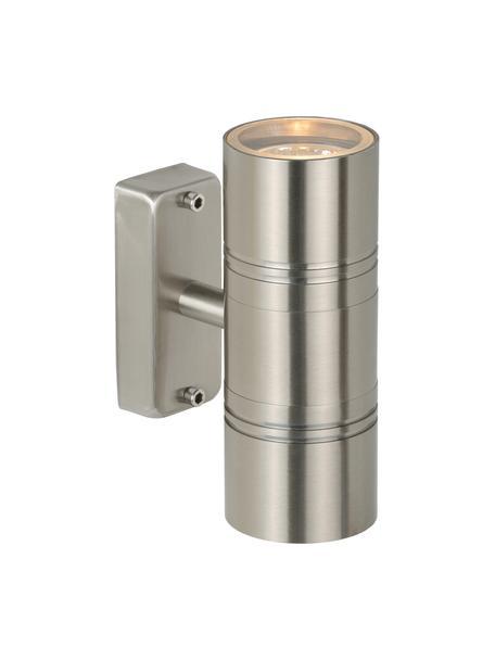 Außenwandleuchte Arne in Silber, Lampenschirm: Stahl, Chrom, satiniert, 6 x 17 cm