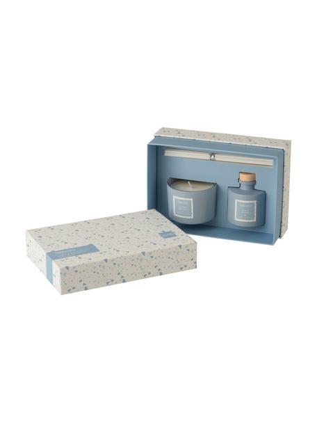 Geurkaars en diffuserset Terrazzo, 2-delig, Houder: glas, Blauw, crèmekleurig, Set met verschillende formaten