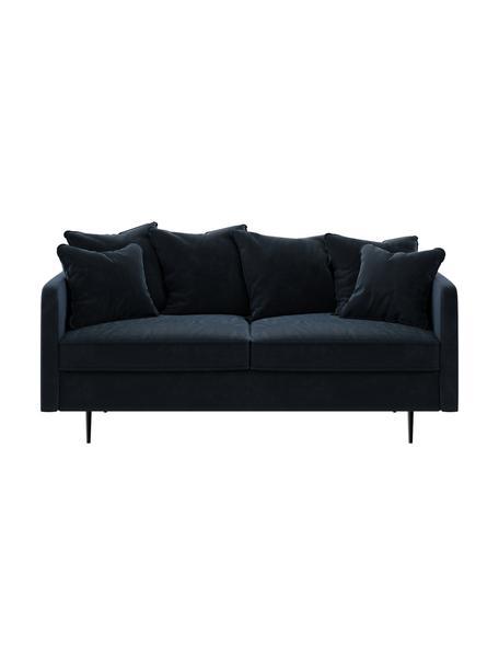 Sofa z aksamitu Esme (2-osobowa), Tapicerka: 100% aksamit poliestrowy, Stelaż: drewno liściaste, drewno , Nogi: metal powlekany Dzięki tk, Ciemny niebieski, S 176 x G 96 cm