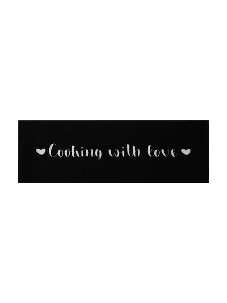 Alfombra de cocina lavable Cooking with Love, antideslizante, Parte superior: 100%poliamida, Reverso: caucho, Negro, blanco, An 50 x L 150