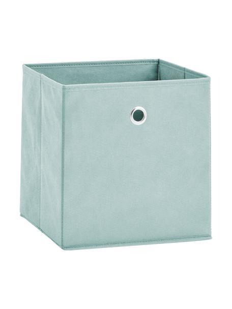 Caja Lisa, Tapizado: tela sin tejer, Estructura: cartón, metal, Verde menta, An 28 x Al 28 cm