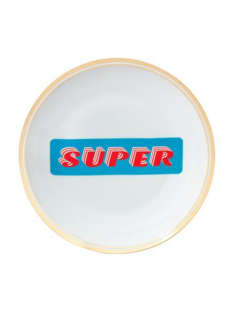 Piatto colazione in porcellana con scritta e bordo dorato Super, Porcellana, Bianco, blu, rosso, dorato, Ø 17 cm