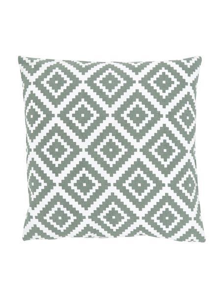 Federa arredo verde salvia/bianco Miami, 100% cotone, Verde, Larg. 45 x Lung. 45 cm