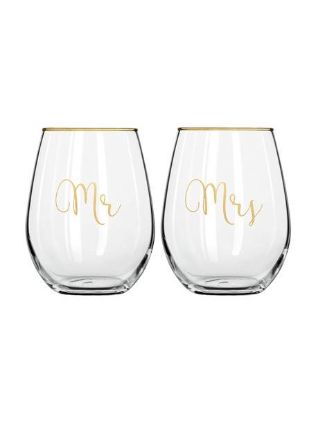 Gläser Mr and Mrs mit goldener Aufschrift, 2er-Set, Glas, Transparent, Goldfarben, Ø 10 x H 13 cm