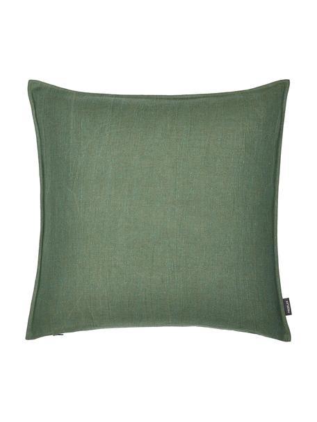 Poszewka na poduszkę z lnu z efektem sprania Sven, 100% len, Tapicerka: ciemnozielony Nogi: czarny, matowy, S 40 x D 40 cm