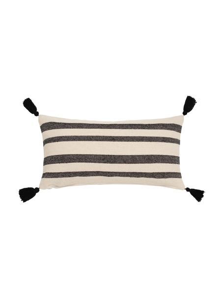 Gestreifte Kissenhülle Zebra mit Quasten, 100% Baumwolle, Schwarz, Weiß, 30 x 60 cm