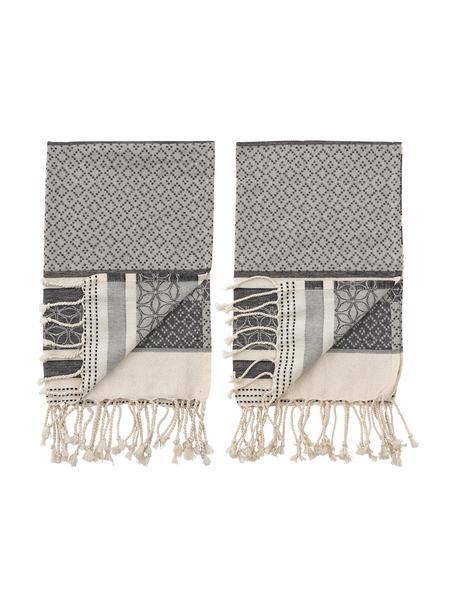 Ręcznik kuchenny z bawełny Nature, 2 szt., Bawełna, Beżowy, szary, S 45 x D 70 cm