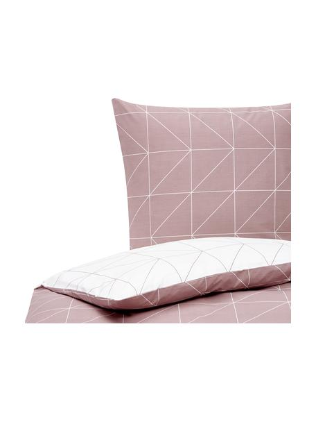 Dwustronna pościel z bawełny Marla, Mauve, biały, 135 x 200 cm + 1 poduszka 80 x 80 cm