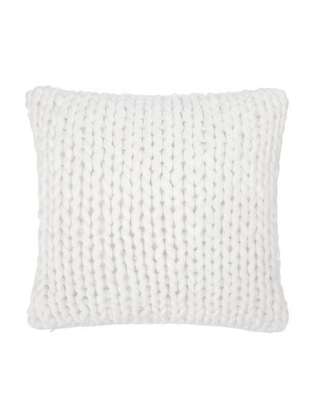Ręcznie wykonana poszewka na poduszkę z grubej dzianiny Adyna, 100% poliakryl, Biały, S 45 x D 45 cm