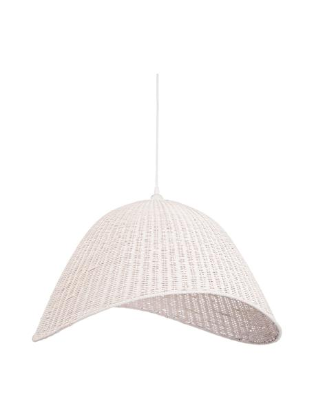 Grote Scandi hanglamp Arvid van bamboehout, Lampenkap: bamboe, Baldakijn: gecoat metaal, Wit, 63 x 36 cm