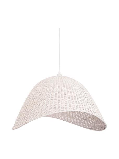 Lampada a sospensione in bambù Arvid, Paralume: bambù, Baldacchino: metallo rivestito, Bianco, Larg. 63 x Alt. 36 cm