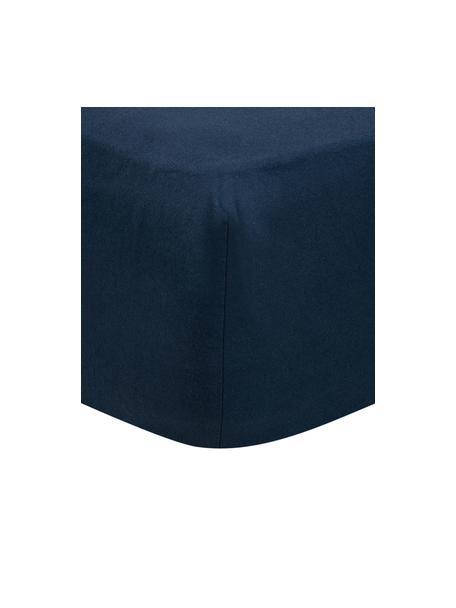 Flanellen hoeslaken Biba in marineblauw, Weeftechniek: flanel, Marineblauw, 90 x 200 cm