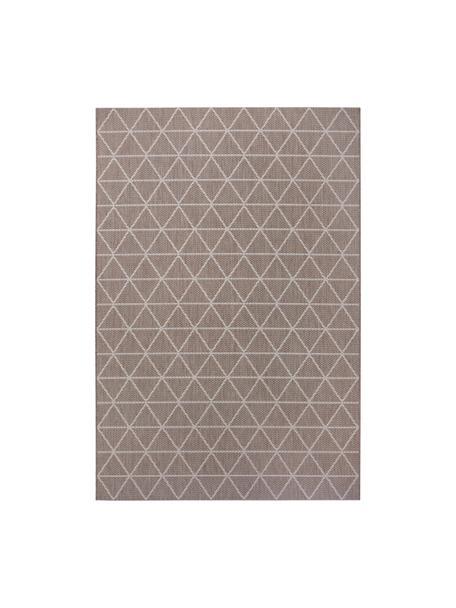 Gemusterter In- & Outdoor-Teppich Triangle in Beige/Weiß, 100% Polypropylen, Hellbraun, Cremeweiß, B 80 x L 150 cm (Größe XS)