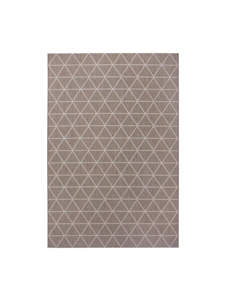 In- & outdoor vloerkleed met patroon Triangle in beige/wit, 100% polypropyleen, Lichtbruin, crèmewit, B 80 x L 150 cm (maat XS)