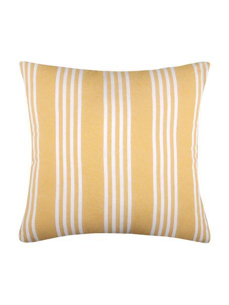 Poduszka z wypełnieniem Mandelieu, Mieszanka bawełny, Żółty, biały, S 50 x D 50 cm