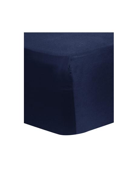 Prześcieradło z gumką z satyny bawełnianej Comfort, Ciemnyniebieski, S 90 x D 200 cm