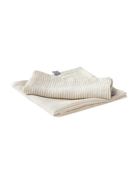 Gestreifte Leinen-Servietten Alina in Beige/Cremeweiß, 2 Stück, 100% Leinen, European Flax zertifiziert, Beige, Cremeweiß, 45 x 45 cm