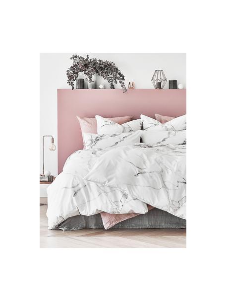 Baumwollperkal-Bettdeckenbezug Malin mit Marmor-Muster, Webart: Renforcé Fadendichte 200 , Vorderseite: Marmormuster, GrauRückseite: Hellgrau, Uni, 160 x 210 cm