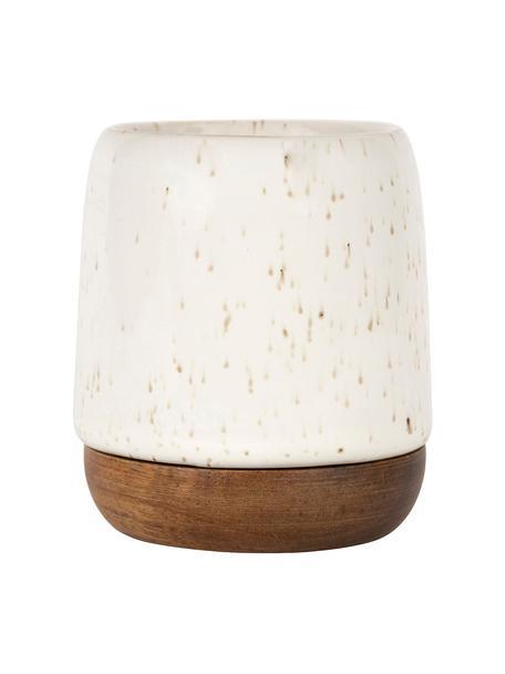 XS bekers Nordika van keramiek/acaciahout, 2 stuks, Beker: keramiek, Onderzetter: acaciahout, Wit, bruin, Ø 6 x H 8 cm