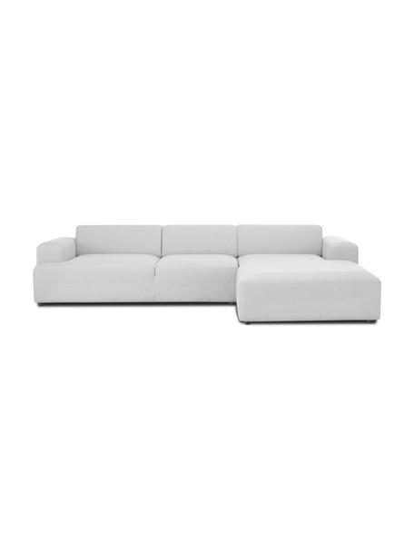 Ecksofa Melva (4-Sitzer) in Hellgrau, Bezug: 100% Polyester Der hochwe, Gestell: Massives Kiefernholz, FSC, Webstoff Hellgrau, B 319 x T 196 cm
