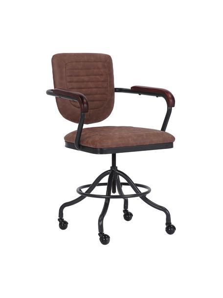 Sedia da ufficio regolabile in altezza Detroit, Gambe: metallo rivestito, Rivestimento: pelle ecologica (poliuret, Ruote: plastica, Marrone, nero, Larg. 60 x Prof. 58 cm