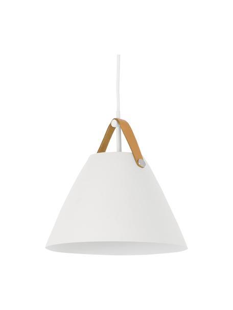 Hanglamp Strap met verwisselbare leren band, Lampenkap: gepoedercoat metaal, Baldakijn: kunststof, Wit, Ø 27 x H 27 cm
