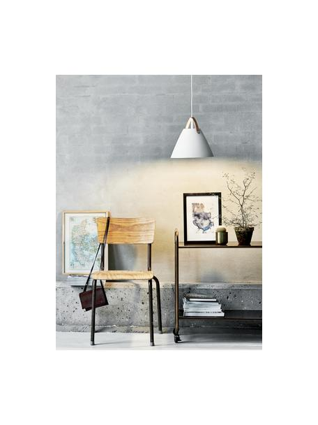 Lámpara de techo Strap, Pantalla: metal con pintura en polv, Anclaje: plástico, Correa: piel bovina, Cable: cubierto en tela, Blanco, Ø 27 x Al 27 cm