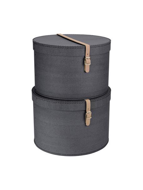Opbergdozen set Rut, 2-delig, Doos: massief karton, met houtd, Doos buitenzijde: zwart. Doos binnenzijde: zwart. Handvat: beige, Set met verschillende formaten