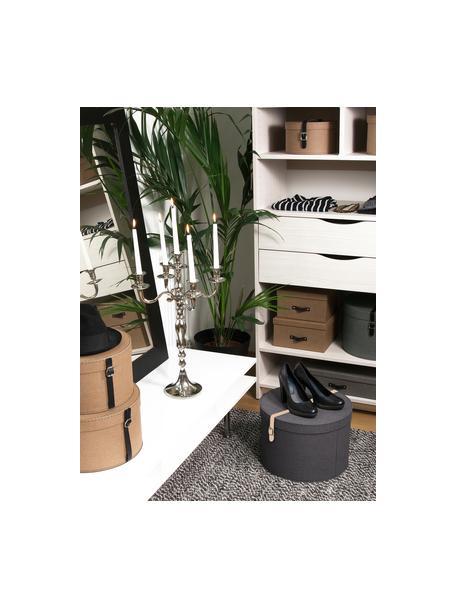 Set de cajas Rut, 2pzas., Caja: cartón sólido, con estamp, Asa: cuero, metal, Exterior: negro Interior: negro Asa: beige, Set de diferentes tamaños