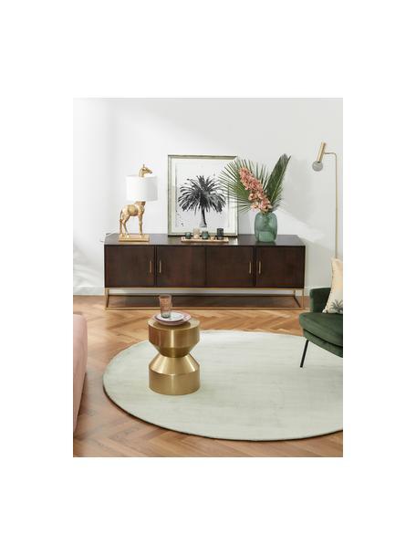 Credenza in legno massello Lyle, Struttura e maniglie: metallo verniciato a polv, Legno di mango scuro, verniciato, Larg. 180 x Alt. 60 cm
