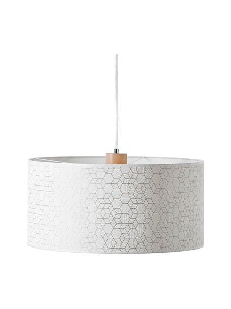 Lampada a sospensione con decoro in legno Galance, Paralume: tessuto, Baldacchino: legno, Argento, Ø 50 x Alt. 25 cm