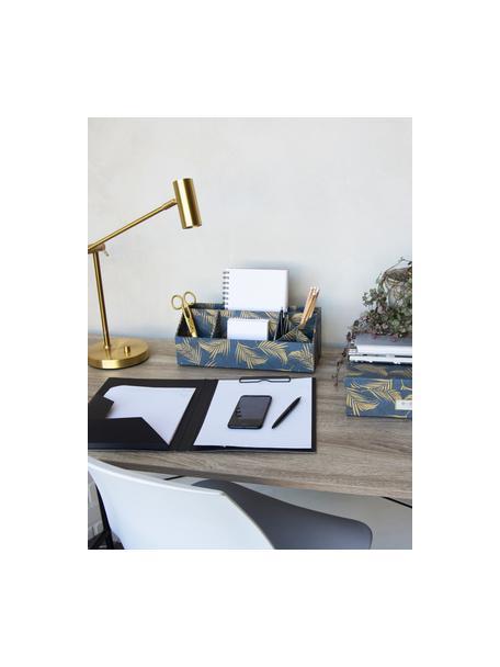 Organizador de escritorio Elisa, Cartón laminado macizo, Dorado, gris azulado, An 33 x Al 13 cm