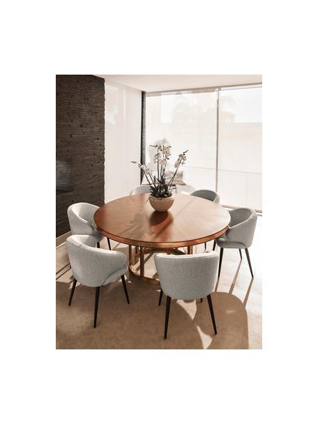 Bouclé-Armlehnstuhl Celia in modernem Design, Bezug: Bouclé (80% Polyester, 20, Beine: Metall, pulverbeschichtet, Webstoff Hellgrau, B 57 x T 62 cm