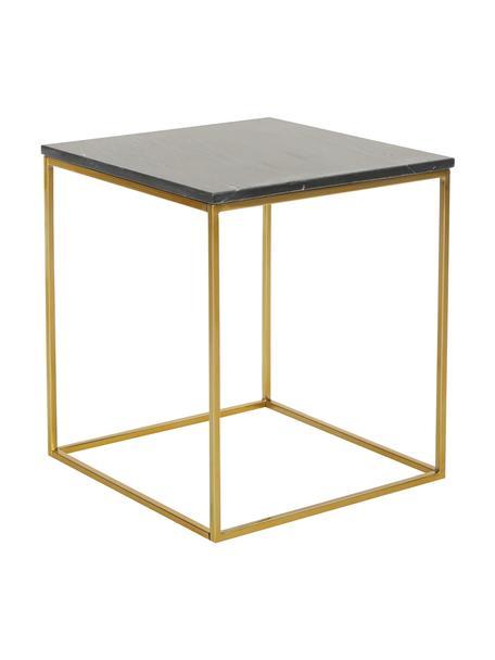 Marmeren bijzettafel Alys, Tafelblad: marmer, Frame: gecoat metaal, Tafelblad: zwart marmer. Frame: glanzend goudkleurig, 50 x 50 cm