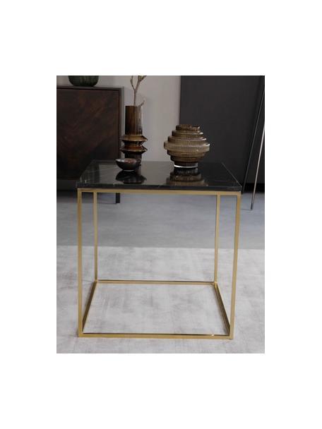 Marmor-Beistelltisch Alys, Tischplatte: Marmor, Gestell: Metall, beschichtet, Schwarzer Marmor, Goldfarben, 50 x 50 cm