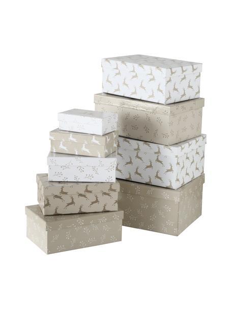 Geschenkboxen-Set Alpia, 9-tlg., Papier, Beige, Weiss, Set mit verschiedenen Grössen