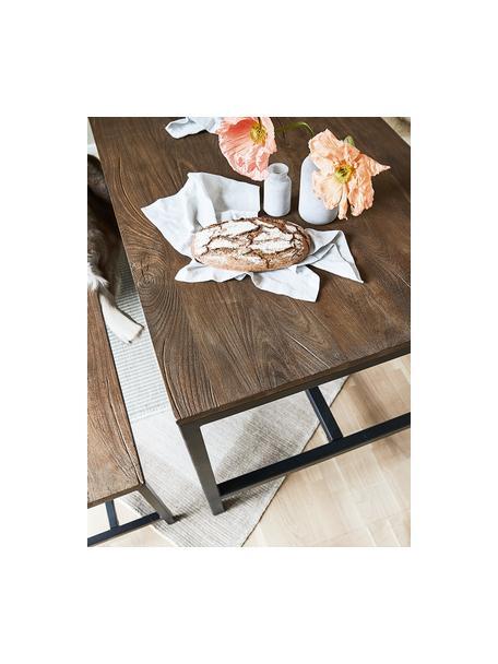 Esstisch Raw mit Massivholzplatte, Tischplatte: Massives Mangoholz, gebür, Gestell: Metall, pulverbeschichtet, Mangoholz, B 180 x T 90 cm