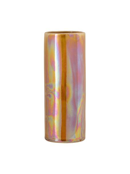 Vase Anos aus Steingut, Steingut, Orange, irisierend, Ø 9 x H 25 cm
