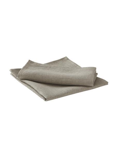 Tovagliolo in lino beige Heddie 2 pz, 100% lino, Beige, Larg. 45 x Lung. 45 cm
