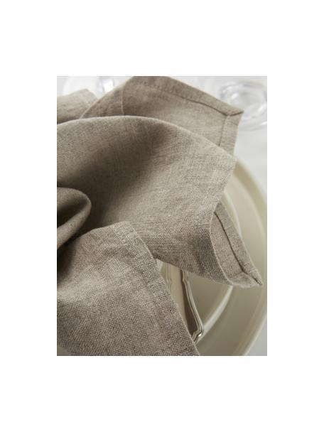 Linnen servetten Heddie in beige, 2 stuks, 100% linnen, Beige, 45 x 45 cm