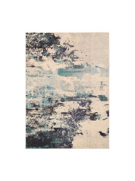 Alfombra de diseño Celestial, Parte superior: 100%polipropileno, Reverso: yute, Marfil, azul, An 120 x L 180 cm (Tamaño S)