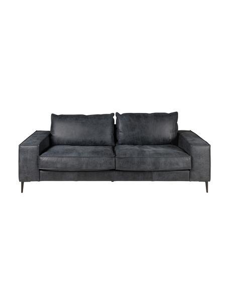 Sofa ze skóry Brett (3-osobowa), Tapicerka: skóra bydlęca, gładka, Czarny, szary, S 215 x G 90 cm
